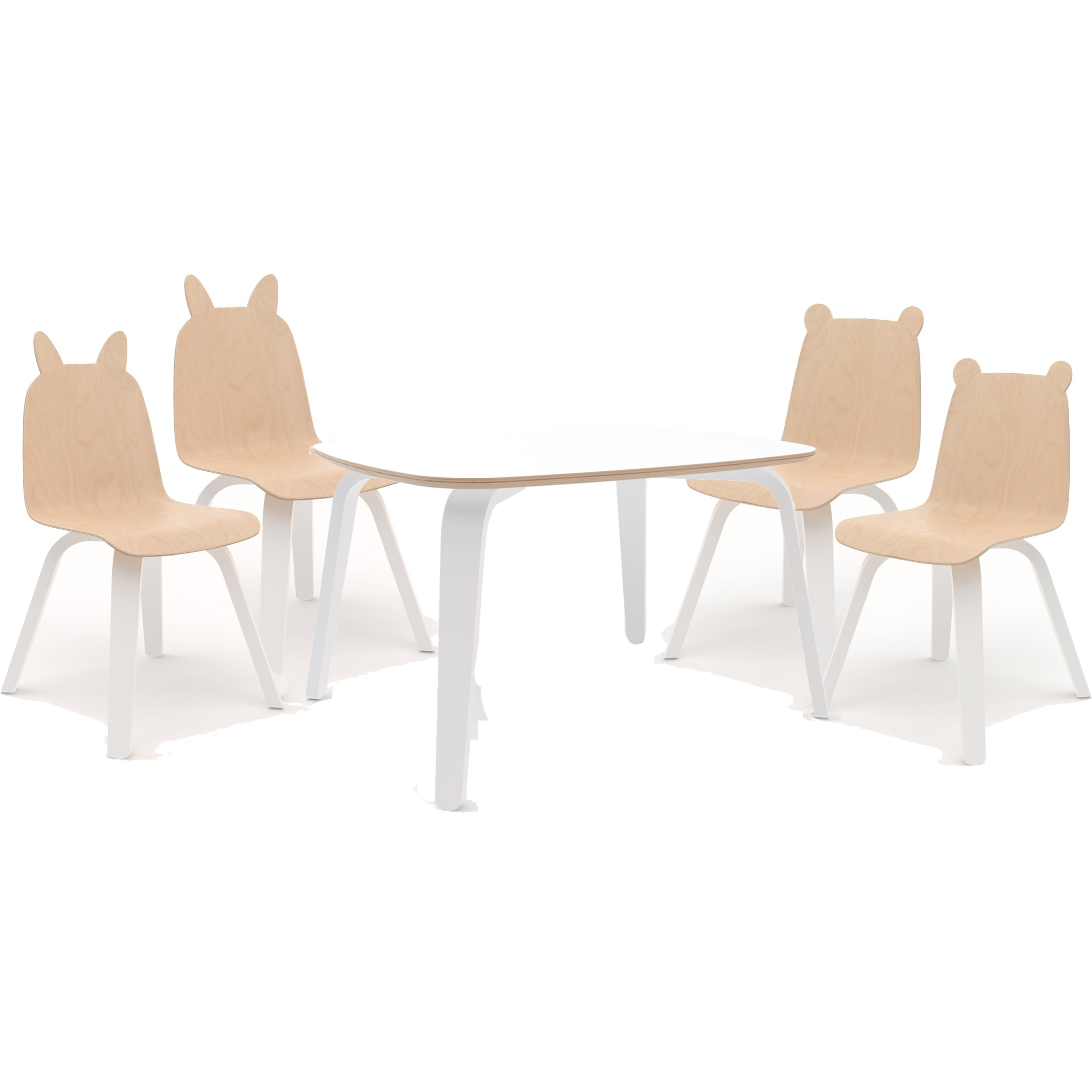 Oeuf Play Table, White and Rabbit & Bear Chairs, Birch (Set of Four)