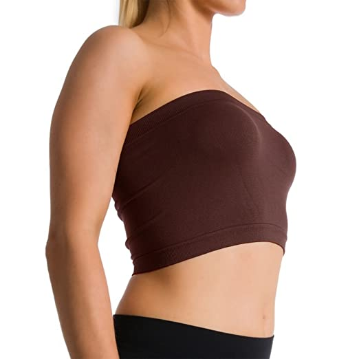 23ae639a75 Image Unavailable. Image not available for. Color  Seamless Strapless  Sports Bra Bandeau Tube Top ...