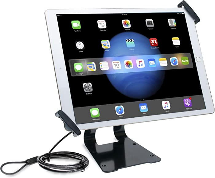 CTA Digital: Adjustable Anti-Theft Security Grip and Stand for iPad Pro & Large Tablets 9.7″– 14″, Including iPad 10.2-inch (7th & 8th Gen.) & More, Silver