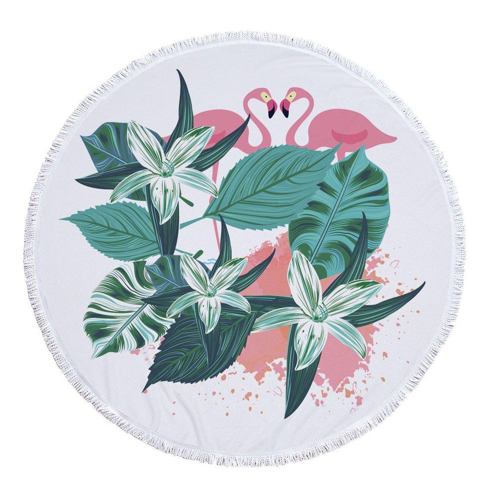 Lolyze Serviette de plage ronde en tissu /éponge ultra-doux et ultra-absorbant avec motif tropical et pompons 150/cm 59 inch flamant rose