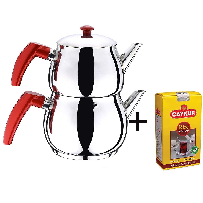 Turkish Caydanlik Teapot Tea Maker Stainless Steel Large Size + FREE GIFT 500G TURKISH BLACK TEA UK Stock Turkish Zone