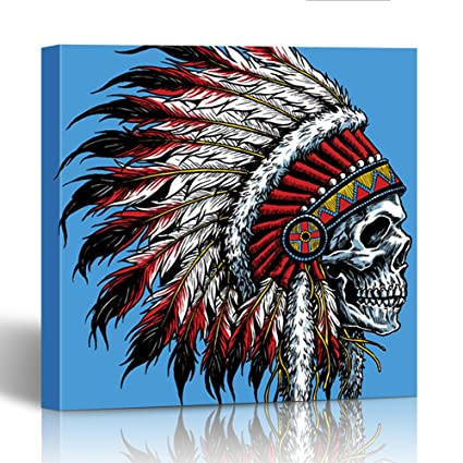 Amazon Com Emvency Painting Canvas Print Wooden Frame Tattoo Indian