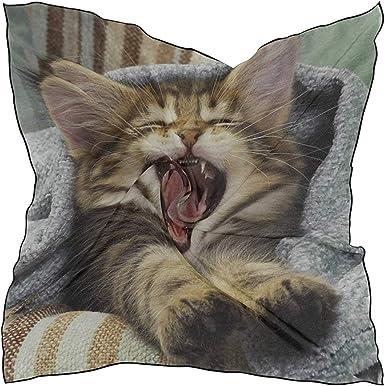 Pañuelo de seda Pañuelo de satén cuadrado Gato Manta de boca ...