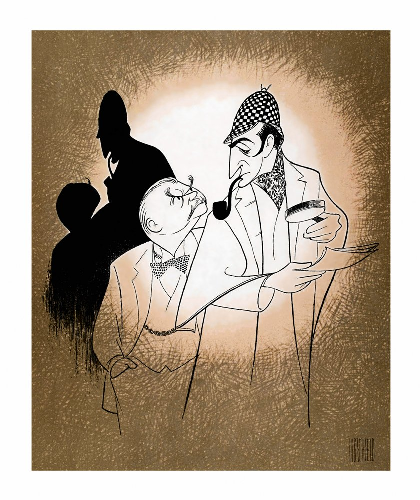 Hand Signed AL HIRSCHFELD, THE GAME'S AFOOT, SHERLOCK HOLMES & DR. WATSON, Limited-Edition Lithograph THE GAME' S AFOOT THE MARGO FEIDEN GALLERIES LTD. New York