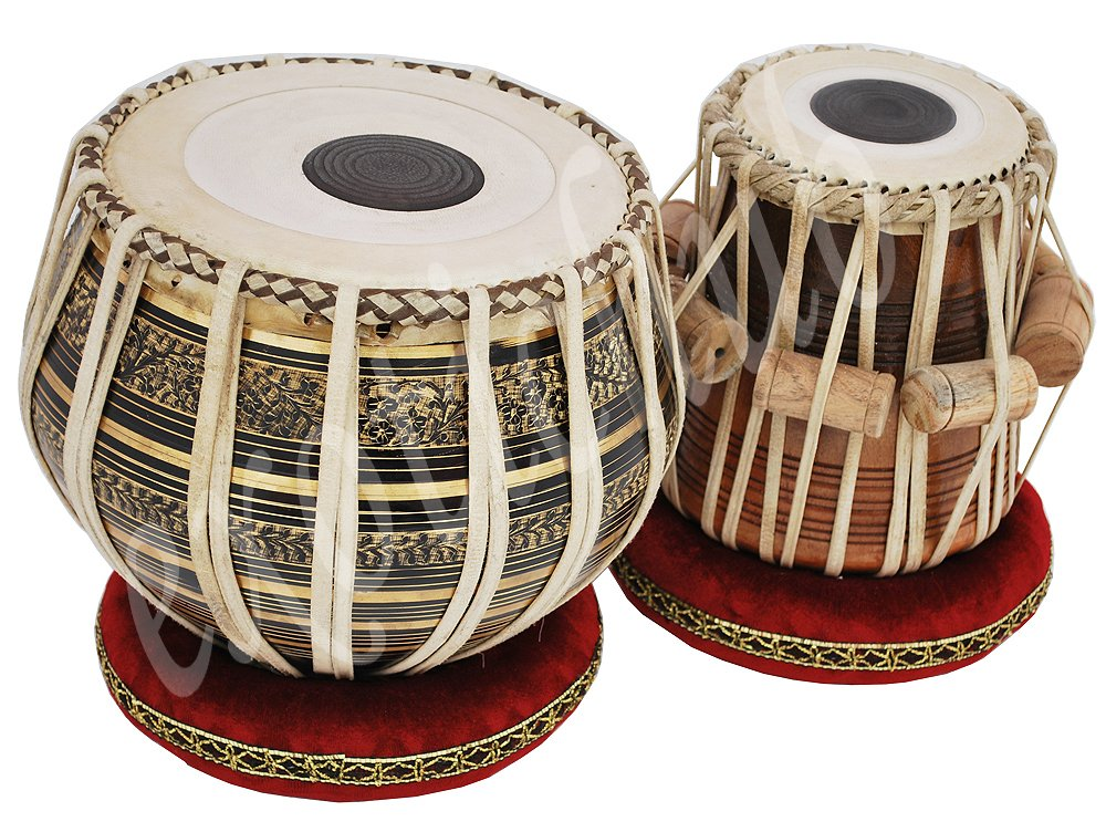 Tabla Drum Set, 2.5 Kg Black Painted Designer Brass Bayan, Beautiful Look, Sheesham Wood Dayan, Hand Made Drum Skin, Camel Leather Strap to Tune, Comes with Tuning Hammer, Gig Bag, Cushion & Cover by Kaayna Musicals (Image #5)