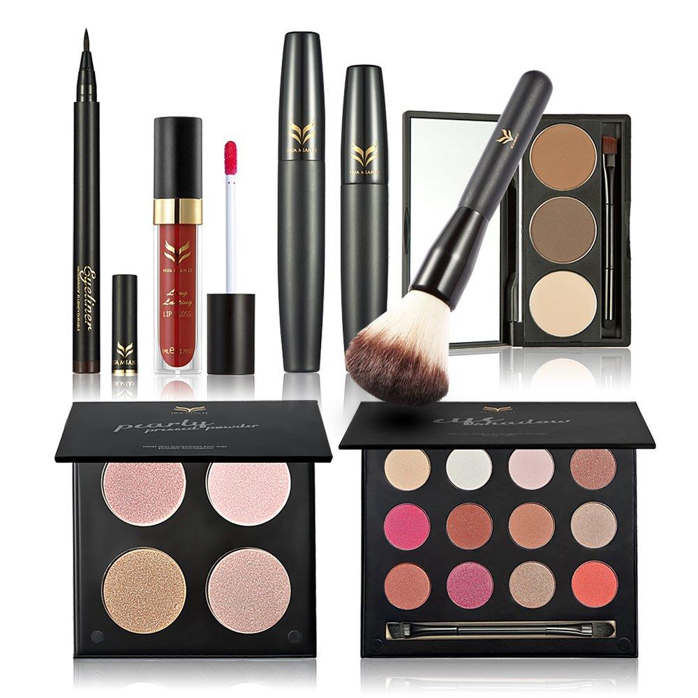 Huamianli 7Pcs Cosmetic Makeup Set 4 Colors Pressed Powder Mascara Eyeshadow Eyebrow Powder Lip Gloss Eyeliner Pen Blush Brush