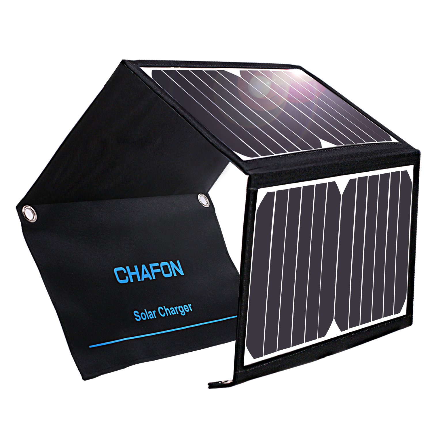 CHAFON Solar Charger 22W Foldable Solar Panel with Dual USB Ports Waterproof for iPhone, Tablets, Smartphones and Outdoor Backpacking Camping