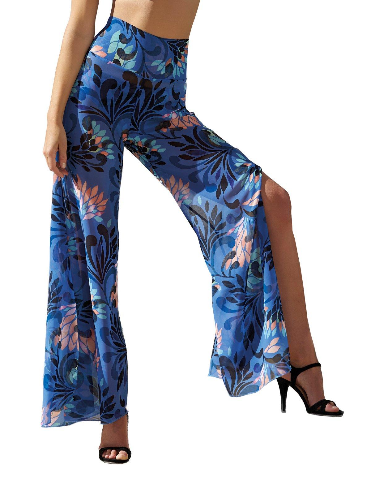 Opera 63500-26 Women's Summer Night Blue Motif Trouser Beach Pant