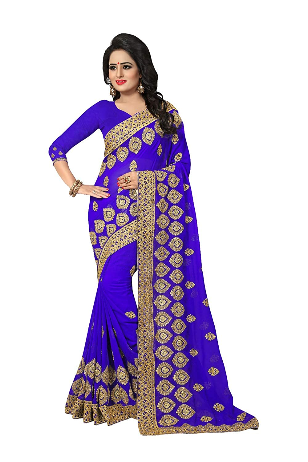 bluee 5 daindiashopUSA Indian Sarees for Women Designer Party Wear Traditional Sari.