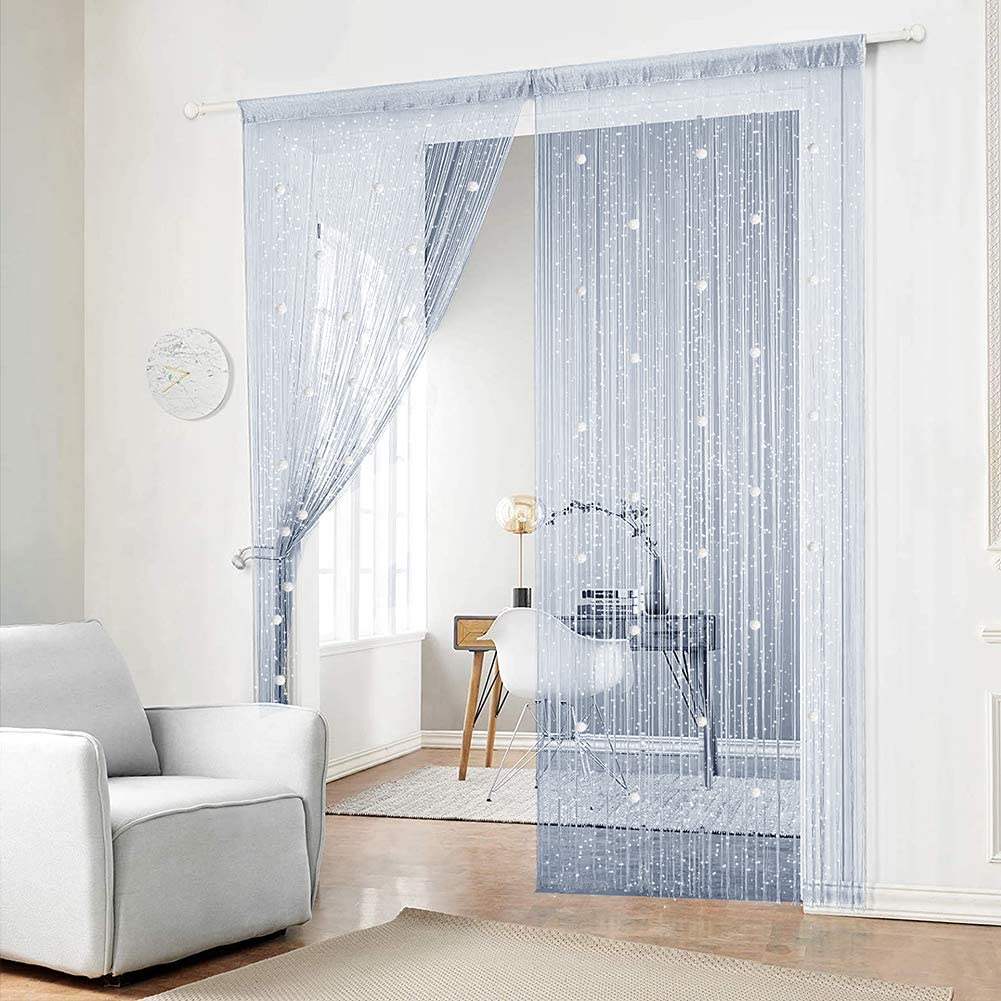 AIFENTE 2pcs Silver Glazed Bead Curtain Bead Curtain Beaded Door Curtain Home Decoration Partition Crystal Tassel Screen for Decorative Window Screening Partition Curtain 39.37x78.74 inch