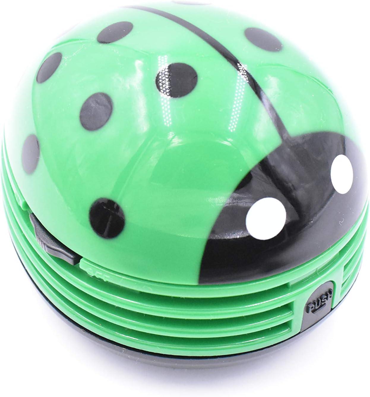 Ladybug Shaped Portable Corner Desk Vacuum Cleaner Mini Cute Vacuum Cleaner Dust Sweeper(Green)