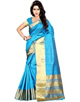 Roopkala Silks & Sarees Women's Tussar Silk With Blouse Piece (Sv-1519_Blue)