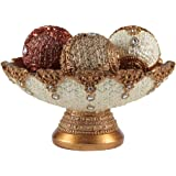 Eye-catching Decorative Bowl and Orb Set, includes Three Balls, Perfect Centerpiece, Fillers, Table Top Accent