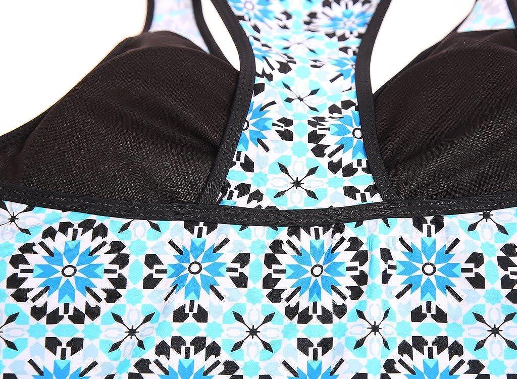 EVALESS Womens Halter Printed Tankini Top with Skirted Bikini Bottom Swimsuit Set