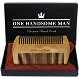 The Ultimate Beard Comb - Quality Sandalwood Comb with Gift Box and Luxurious PU Leather Travel Case - Gifts for Men
