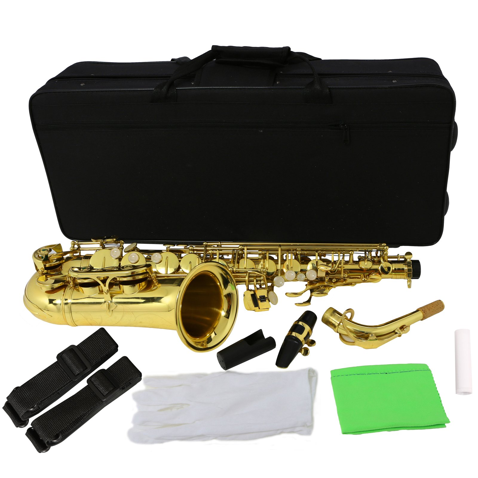 LAGRIMA Professional Alto Eb SAX Saxophone Gold Laquer Finish, Alto Saxophone with White Gloves, Cleaning Cloth, Cleaning Swab, Case, Mouthpiece, Neck Strap for Beginner Adult by LAGRIMA