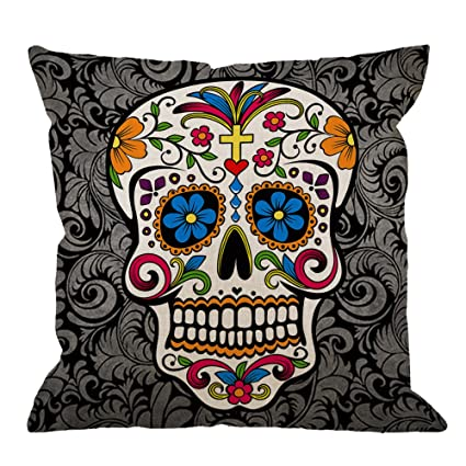 Gentil HGOD DESIGNS Skull Pillow Case Decor Colorful Sugar Skull Cotton Linen  Square Cushion Cover Standard Pillowcase