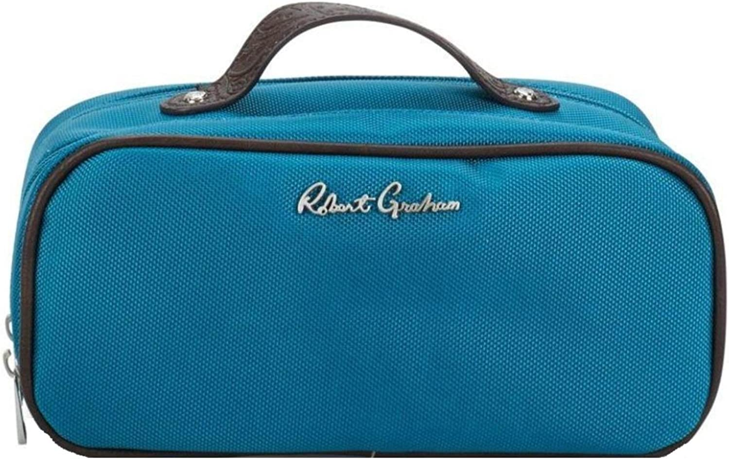 Robert Graham Mens Leo Canvas Faux Leather Trim Toiletry Kit