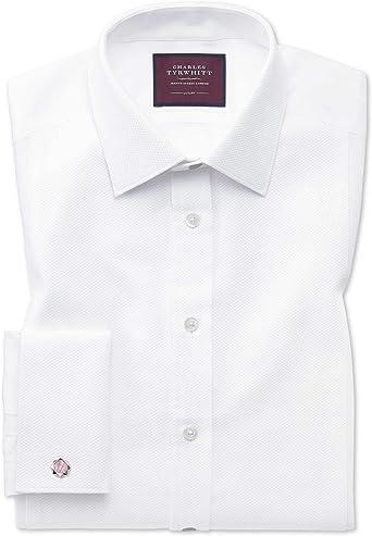 Camisa de Etiqueta Blanca de piqué Slim fit con Pechera: Amazon.es: Ropa y accesorios