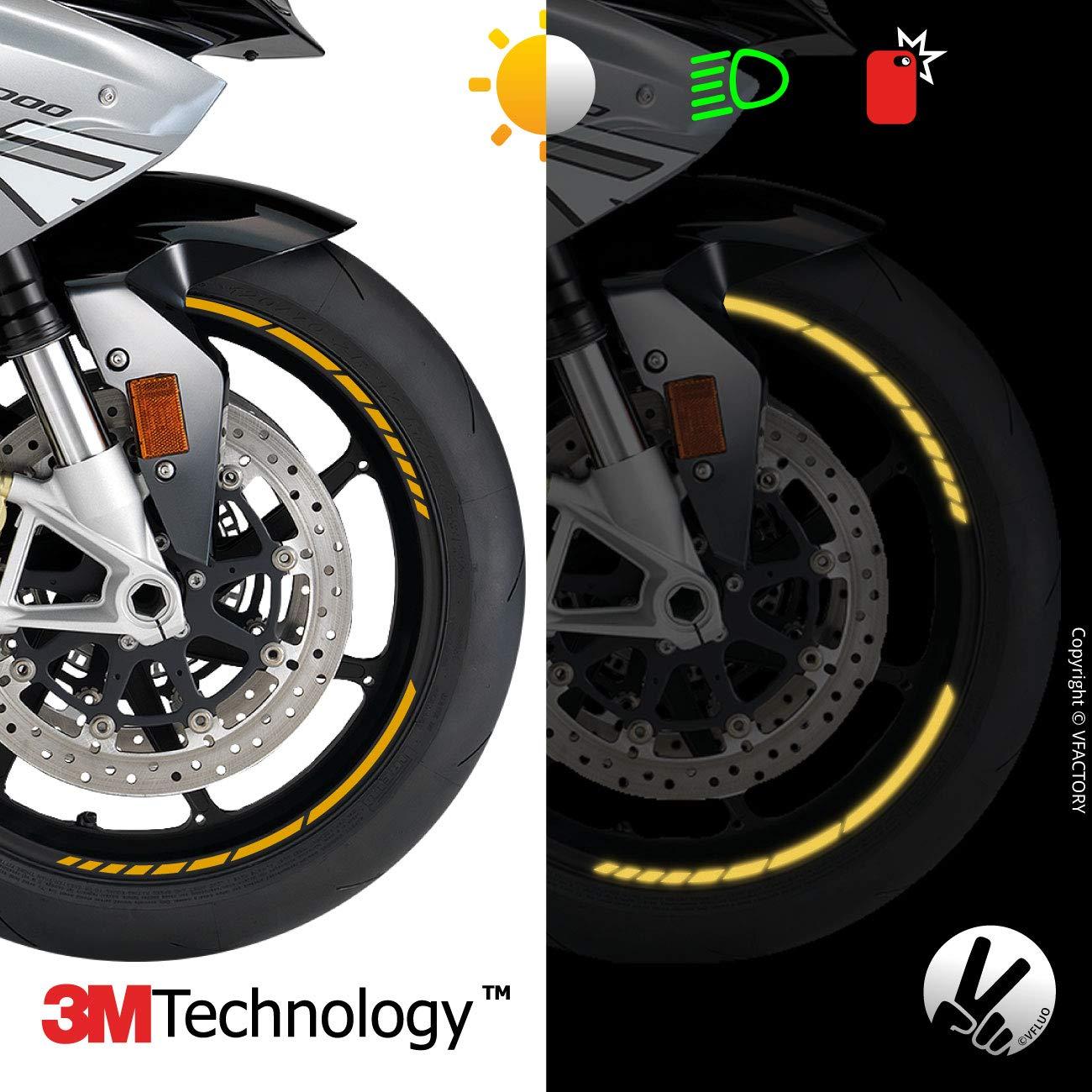 3M Technology/™ 1 Roue Kit Bandes Jantes Moto r/étro r/éfl/échissantes VFLUO GP Design/™ Liseret Largeur XL : 10 mm Rouge
