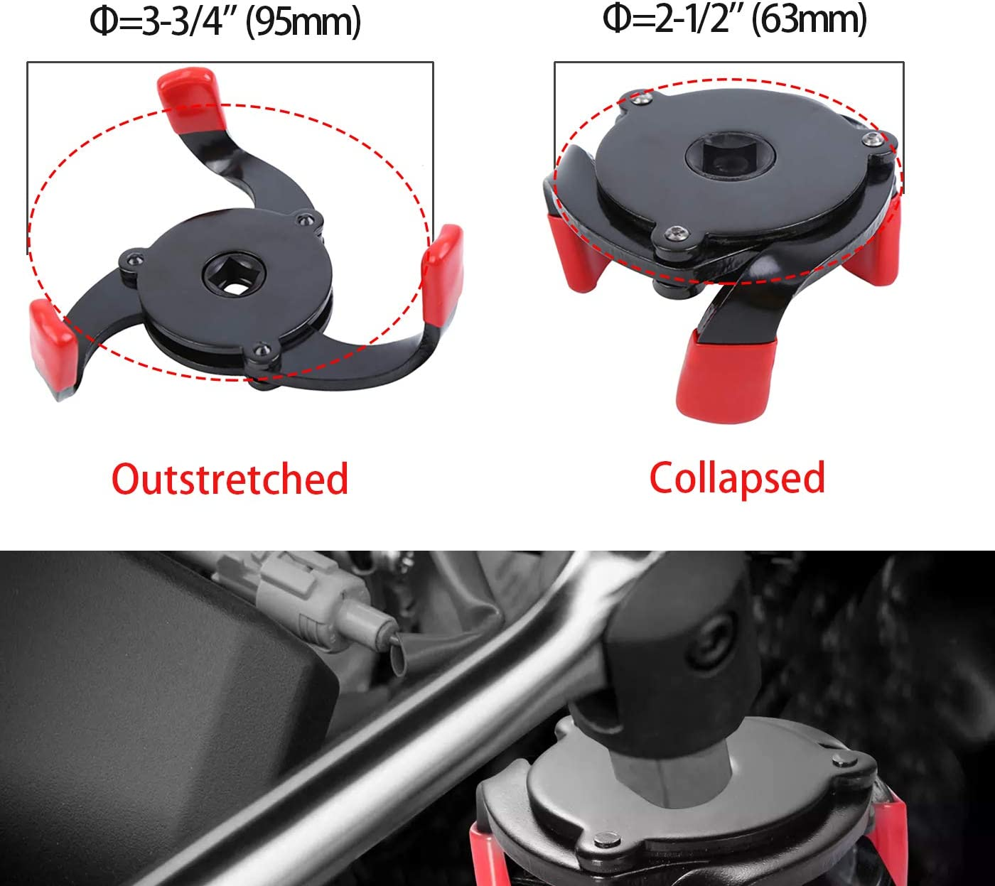 Eastyard Universal Oil Filter Wrench Adjustable 3 Jaw Engine Oil Filter Removal Tool with 1//2 Adapter 3//8 Square Drive Socket