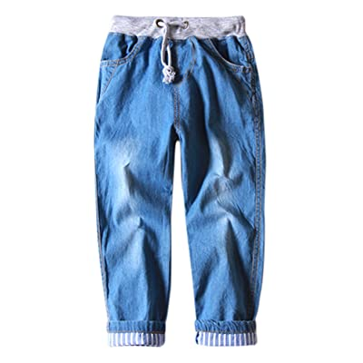 Aivtalk Boys Denim Jeans Drawstring Striped Rolled Cuff Denim Pants 2-8 Years