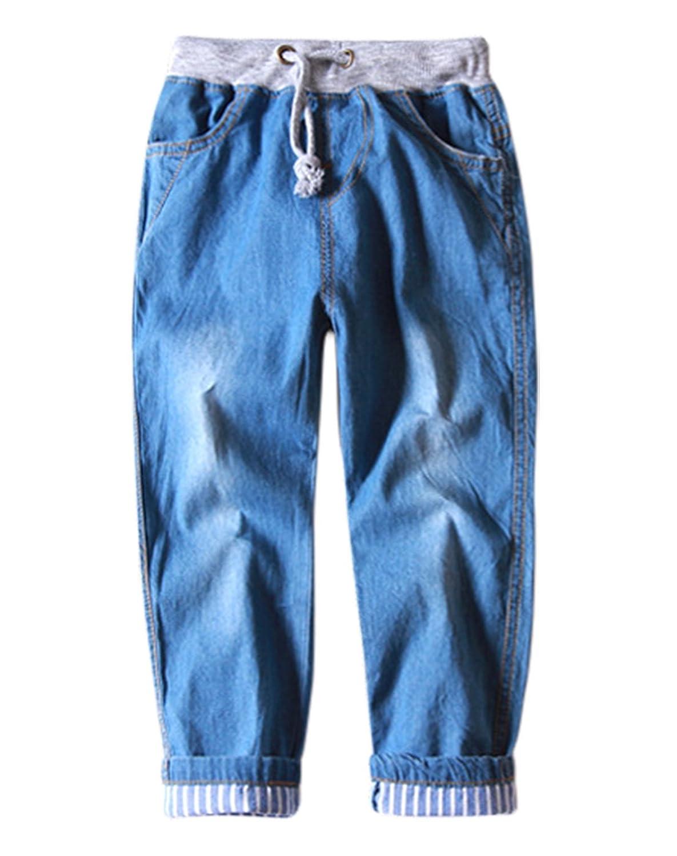Aivtalk Boys Denim Jeans Drawstring Striped Rolled Cuff Denim Pants 2-8 Years