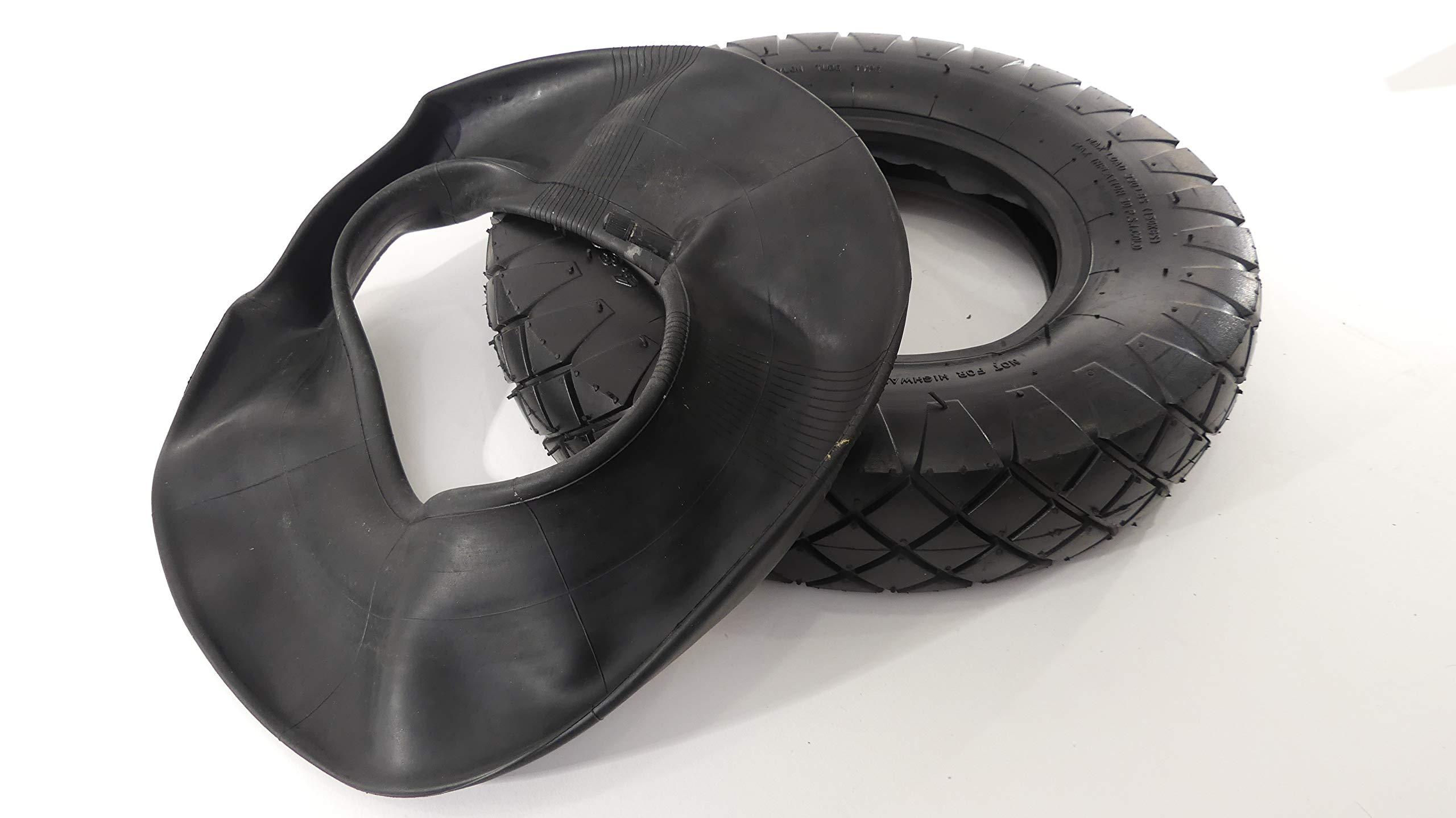 Tech Team Tire and Tube Set, 4.00-8 Rubber Tire, Rubber Inner Tube, Schrader Style Tire Valve, Wheelbarrow, Garden Cart, Hand Truck by Tech Team