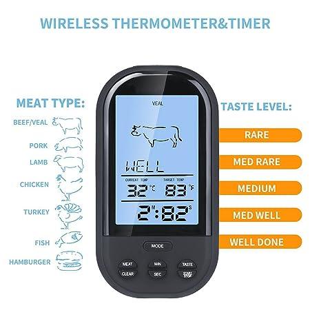 CooKey - Barbacoa remoto - Termómetro inalámbrico digital de cocina cocinar carne termómetro para horno grill Fumador Con Temporizador (negro): Amazon.es: ...