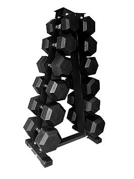 Cuerpo revolución Heavy Duty Rack de mancuernas hexagonales – pesos de almacenamiento – capacidad para 6