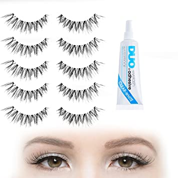 d3710ff2083 BIG Set of False Eyelashes - 5 Pair Set with DUO Clear Eyelash Adhesive    Strip