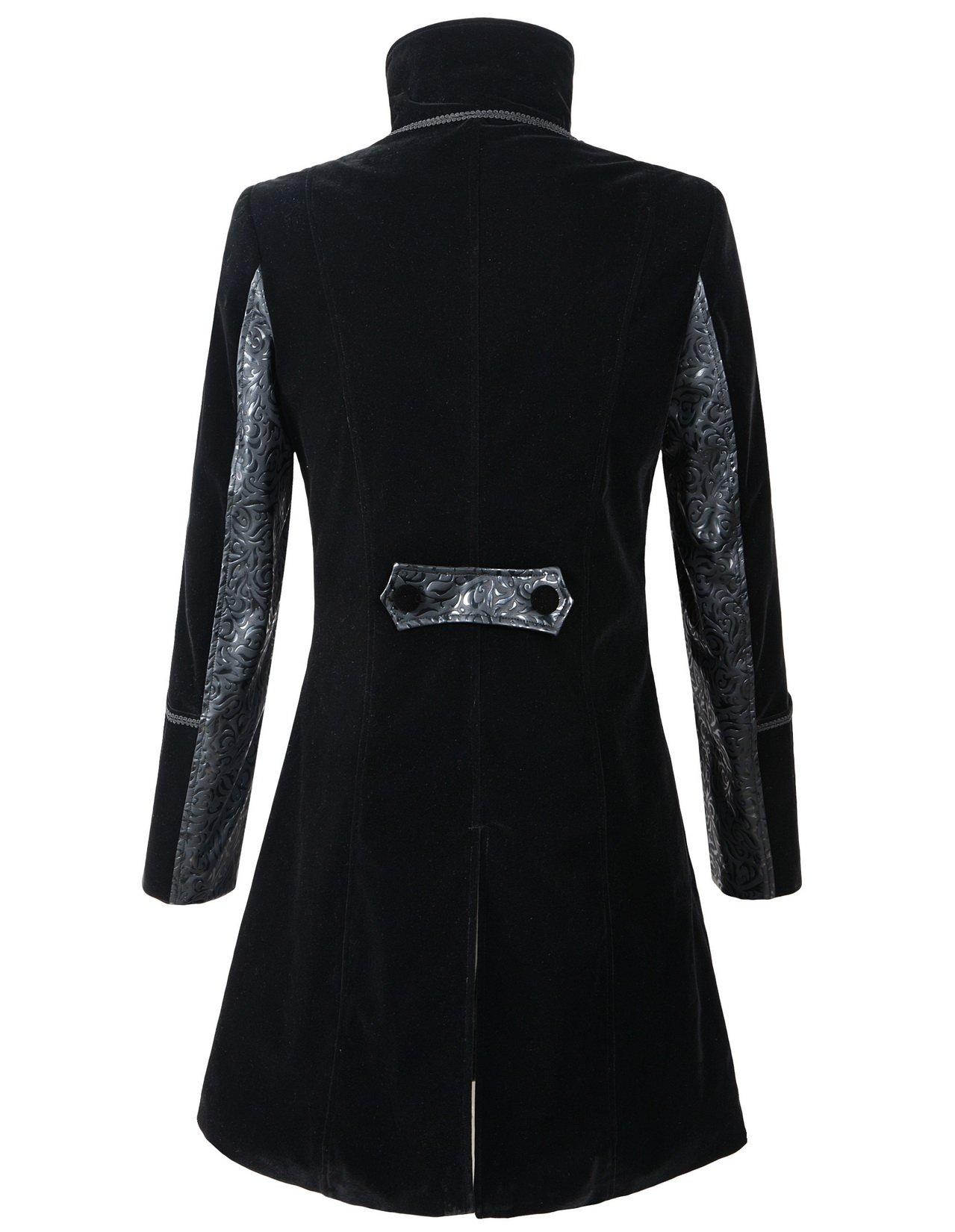 DarcChic Mens Velvet Gothic Leather-Lapel Trench Coat Steampunk Victorian 4