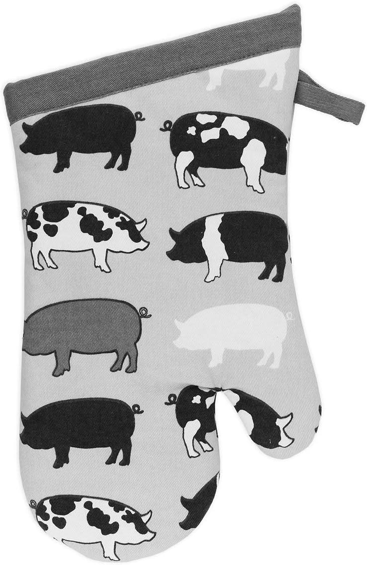 MU Kitchen 100% Cotton Terry-Lined Designer Oven Mitt, 13-Inch, Pigs