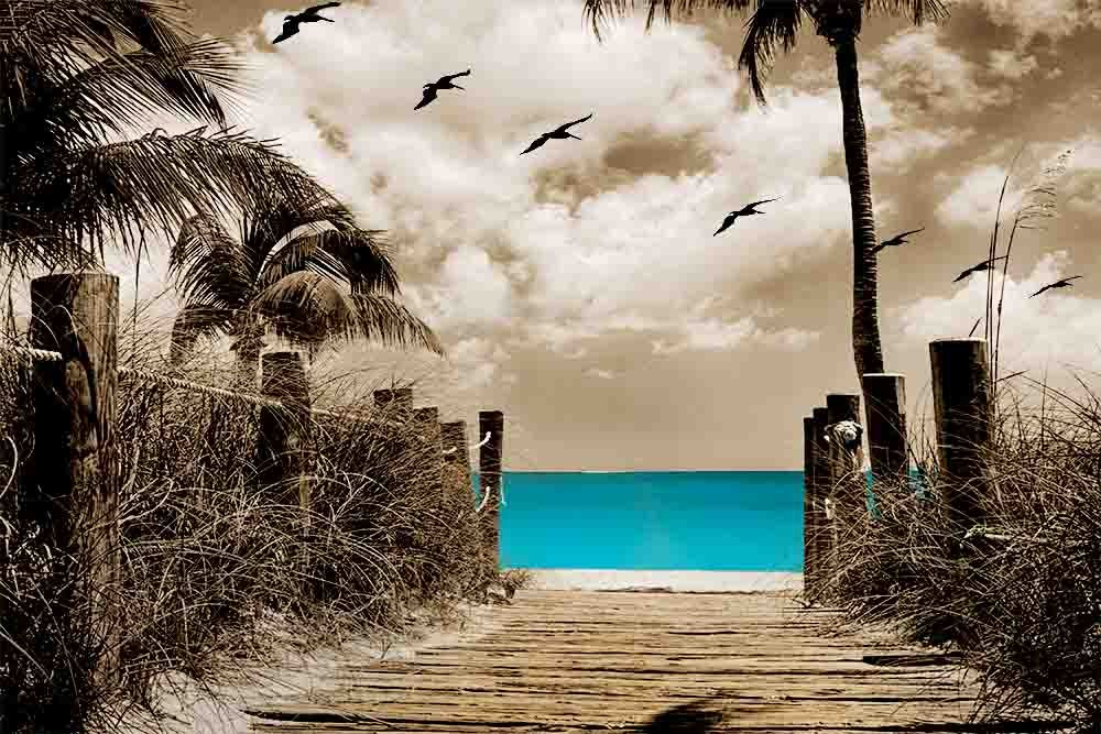 Paradise Walk - Brown Background with 3 Decor Colors - Beach, Ocean, Seascape, Home Decor. Wall Art Canvas wrapped around a wooden frame, Family Room, Living Room. Bedroom ) (Blue, 20x30)