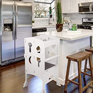TUSY-Kitchen Helper Stool White with Keeper and Non-Slip Mat for Safe Cooking with Toddlers.