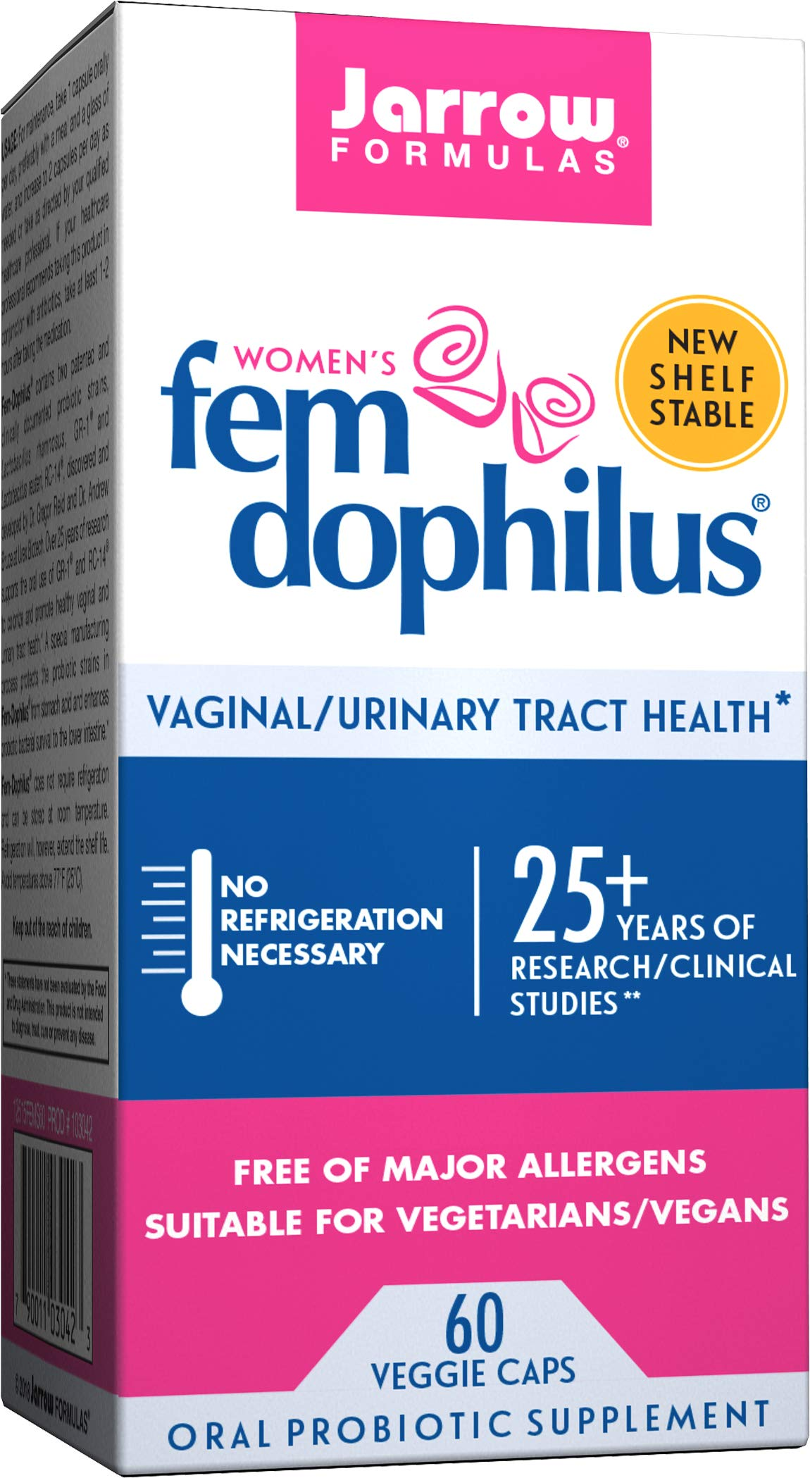 Jarrow Formulas Shelf-Stable Fem-Dophilus, 1 Billion Organisms Per Capsule, Supports Vaginal and Urinary Tract Health, 60 Capsules by Jarrow Formulas
