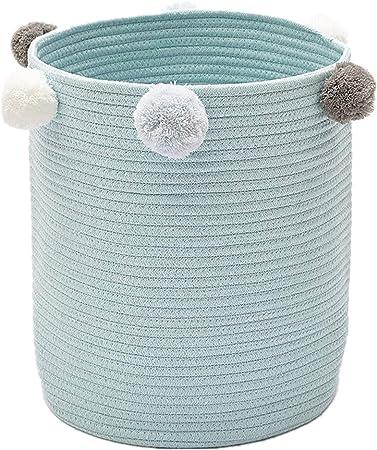 Zinsale Cuerda de algodón Cestos para la Colada Pom Pom Robusta Lavable Cesto de lavandería Juguetes para bebés Cesta de Almacenamiento de contenedores (Azul): Amazon.es: Hogar