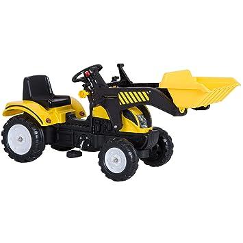 Homcom Tractor Pedal Excavadora Camión + Pala Delantera para Niños 3-6 Años Juguete de Montar Coche Pedales Carga 35kg 114x41x52cm Acero y ...