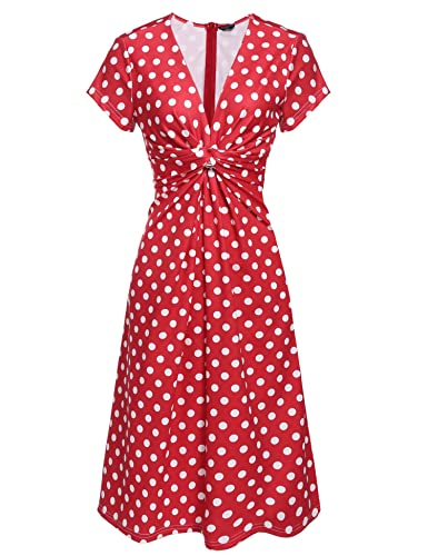 1940s Style Dresses and Clothing  1940s/40s Polka Dot Pinup Ruched Dress $26.99 AT vintagedancer.com