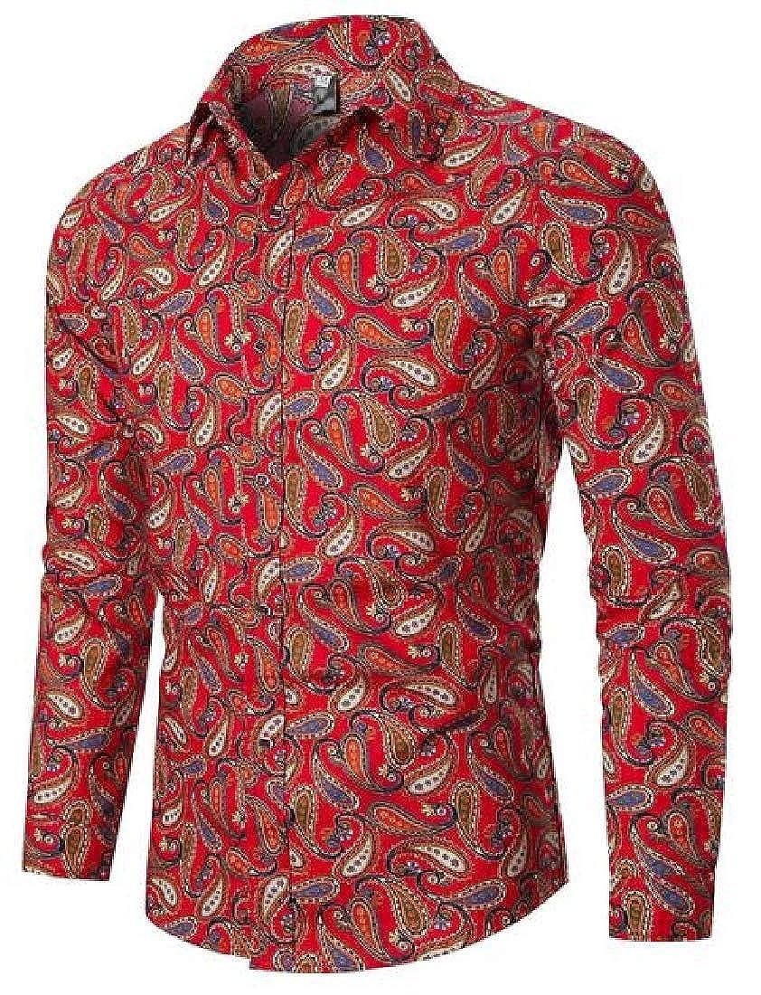 Rrive Mens Shirts Slim Fit Retro Long Sleeve Button Down Printing Shirts
