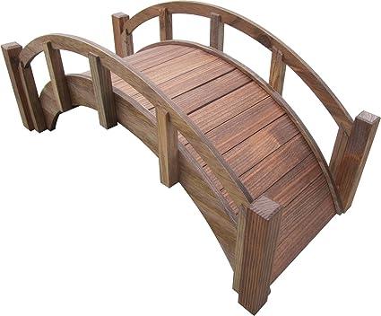 SamsGazebos Miniature Japanese Wood Garden Bridge Treated Assembled 25quot Long X 11quot