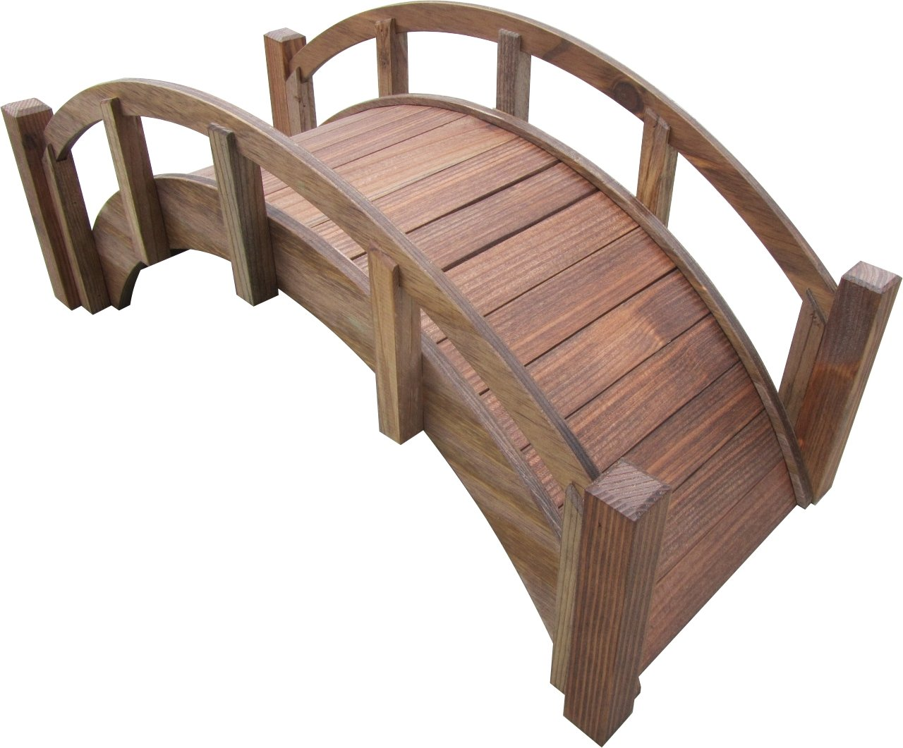 SamsGazebos Miniature Japanese Wood Garden Bridge, Treated, Assembled, 25'' Long X 11'' Tall X 11-1/2'' Wide, Made in USA by SamsGazebos