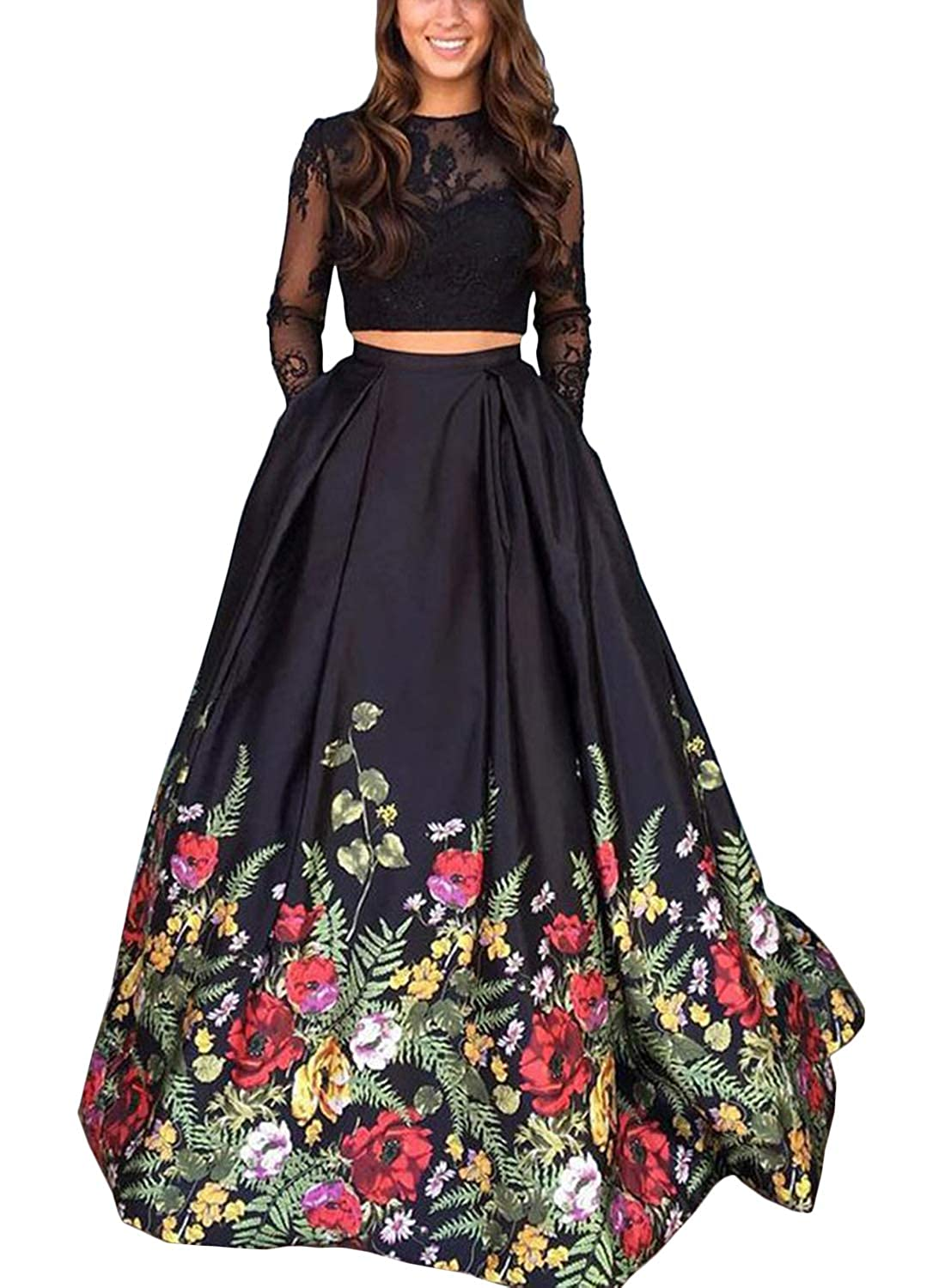 Monalia Womens Floral Long Sleeves Prom Dresses Formal Evening Gowns H038