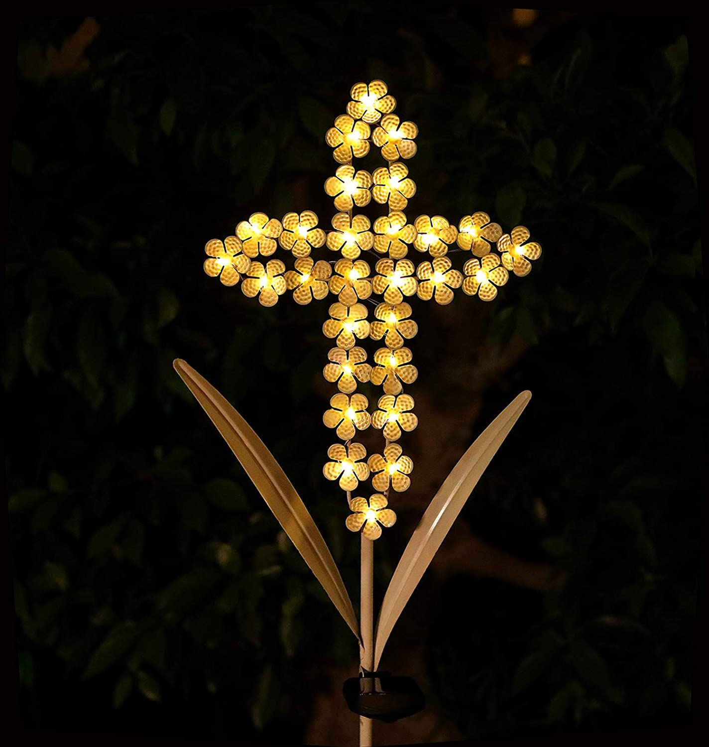 "WSgift Solar Garden Cross Stake Lights Metal Hydrangea Cross Stake Memorial Gift w/ 28 Solar LEDs Solar Cross Lights Perfect as Cross Remembrance Gifts & Sympathy Gifts (10"" W x 40"" H)"