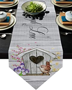 Triangle Cotton Linen Table Runners 14x72 Inches Long, Floral Bird House Art Live - Laugh - Love Home Decor for Wedding/Events, Machine Washable, Tabletop Collection Retro Grey Wooden Hive Pattern