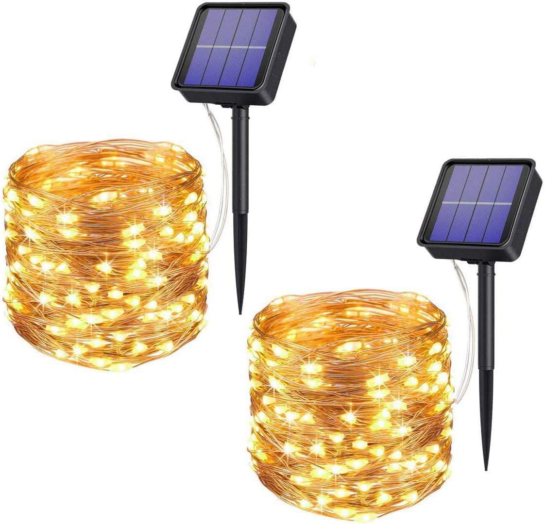 Upoom [2 Pack] Solar Fairy Lights, 400 LED Outdoor Solar String Lights Garden Copper Wire Decorative Lights 72Ft Waterproof Indoor Outdoor Lighting for Garden, Patio, Yard, Christmas