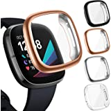 CAVN 4-Pack Screen Protector Case Compatible with Fitbit Sense/Versa 3, Screen Protector TPU Protective Screen Cover Saver Bu