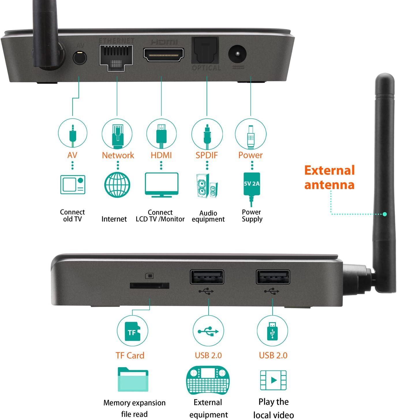 Android TV Box-T10 Max Android box Amlogic S905 Quad Core cortex-A53 [2 GB / 32GB ] Smart box, la antena exterior material con Frente LED Monitor 2.4G +5G wifi+Bluetooth 4.1 smart tv