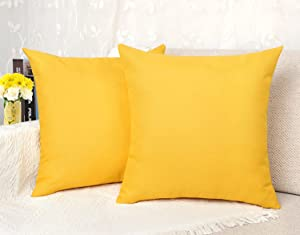 4TH Emotion Outdoor Waterproof Throw Pillow Covers Garden Cushion Case for Patio Couch Sofa Polyester Home Decoration Pack of 2, 20 X 20 Inches Lemon Yellow