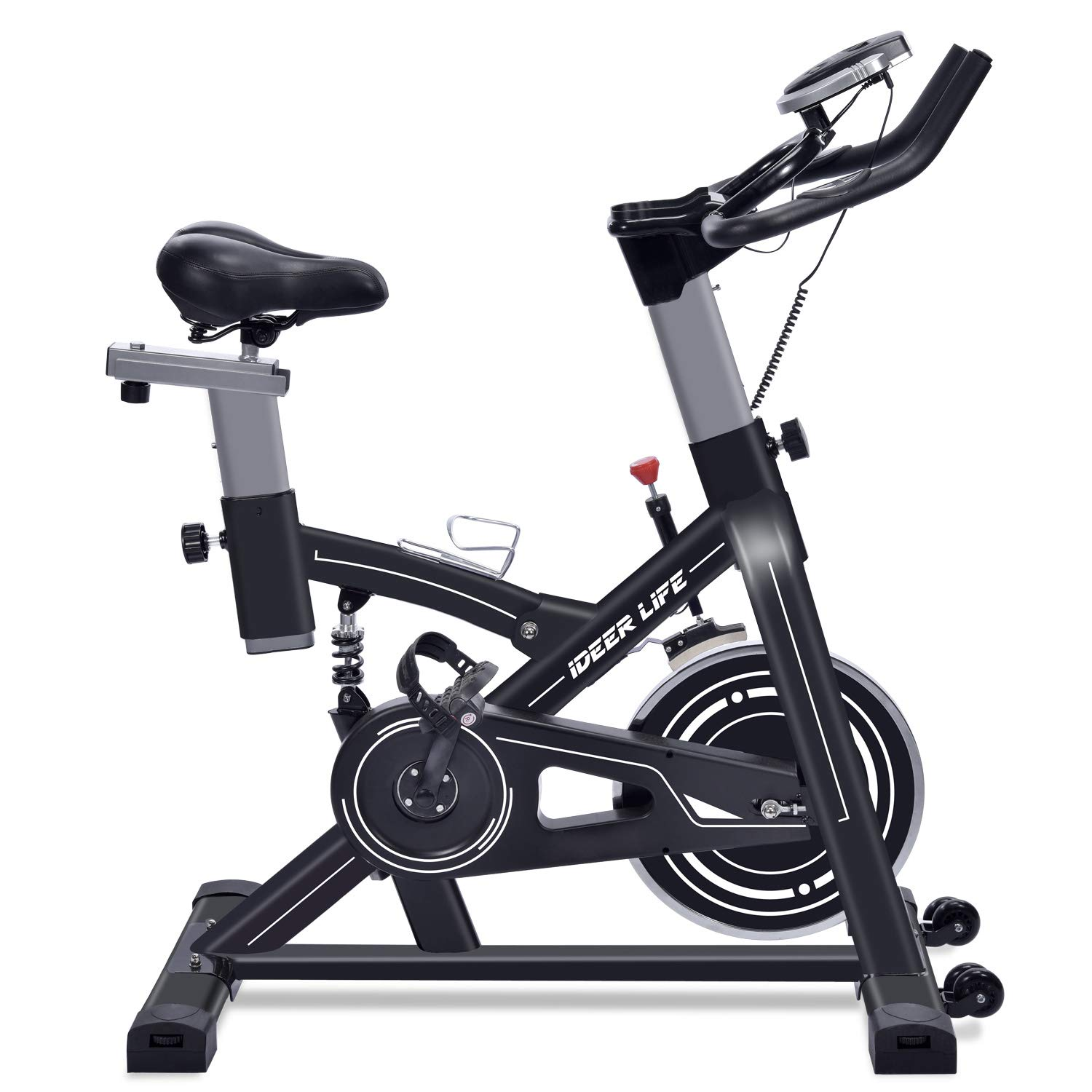 IDEER LIFE Exercise Bike Indoor Cycling Stationary Bike for Home Sport Workout,Adjustable Sport Exercise Bike for Home Indoor Cardio,w/Pulse Sensor&LCD Monitor,Max Capacity:330lb (Black09060)